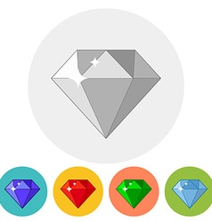 Shining gem icon in different color variations vector image