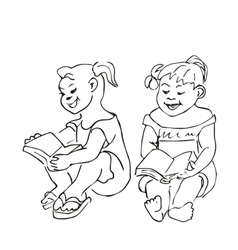 Small Girls sitting and reading a book vector image vector image