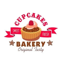 Sweet fresh cupcakes icon Bakery emblem vector image vector image