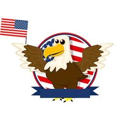 Cute cartoon American bald eagle vector image