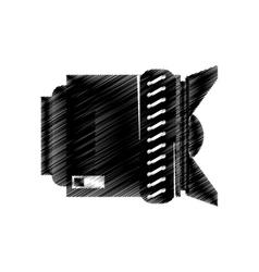 hand drawing lens photo camera icon vector image vector image