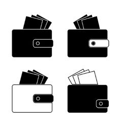 Icon - wallet with bills money Design in the flat vector image vector image
