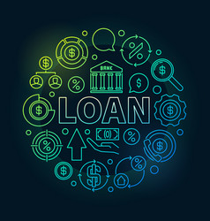 loan round outline colorful vector image