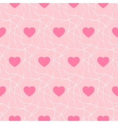 Pink romantic background with hearts and imitation vector image vector image