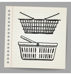 Plastic basket Doodle style vector image