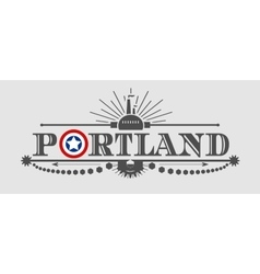 Portland city name with flag colors vector image vector image