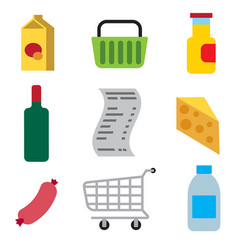 supermarket foods icons vector image vector image