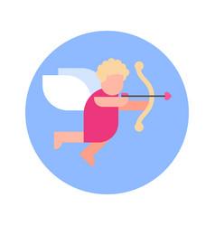 cupid cherub icon on blue round background vector image
