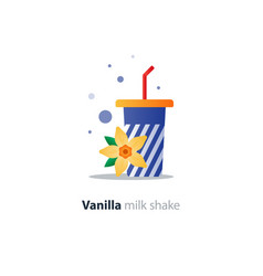 high glass of milk shake with vanilla flower vector image vector image