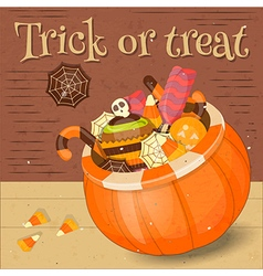 Jack-o-lantern Candy Basket vector image vector image