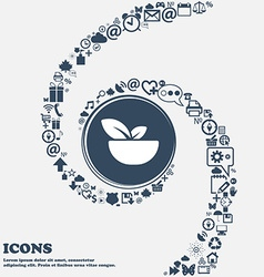 Organic food icon in the center Around the many vector image vector image
