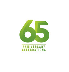 65 years anniversary celebration number text vector