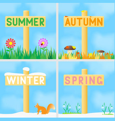 A set signs with names seasons vector