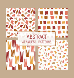 Abstract collage seamless patterns set vector