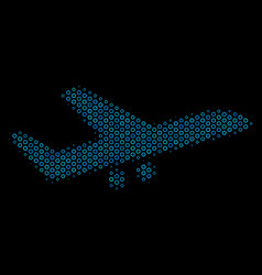 aiplane composition icon of halftone circles vector image