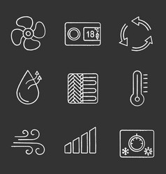 air conditioning chalk icons set vector image