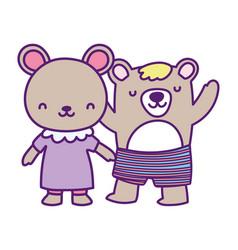 Bashower cute little male and female bears vector