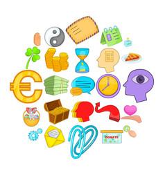 Benevolence icons set cartoon style vector