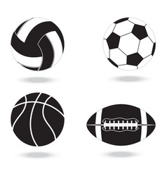 black and white icons balls for different vector image