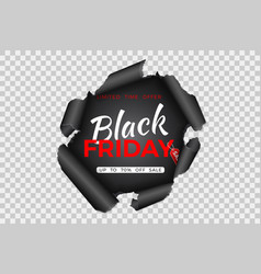 black friday sale banner with torn paper vector image