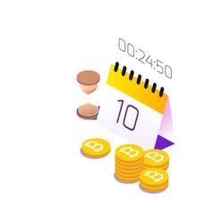 blockchain concept calendar bitcoin background vec vector image