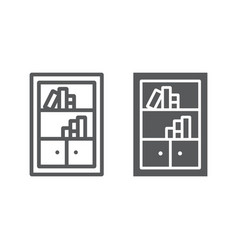 Bookshelf line and glyph icon furniture and shelf vector