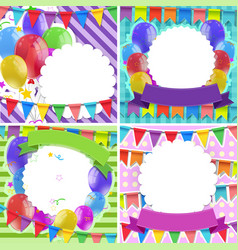 border templates with balloons and flags vector image