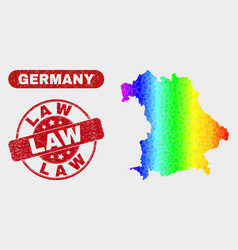 Bright mosaic germany map and scratched law stamp vector