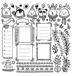 Bullet journal and winter doodle elements vector