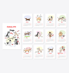 Calendar dogs sketches vector