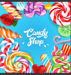 candy shop realistic background vector image