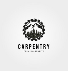 Carpentry logo vintage with nature landscape and vector