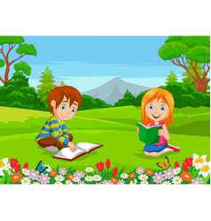 cartoon boy and girl reading books in park vector image