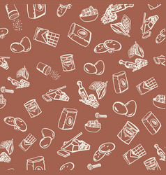 chocolate cookie ingredients pattern on brown vector image