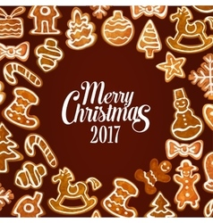 Christmas gingerbread cookie festive poster design vector image
