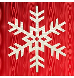 Christmas wooden snowflake greeting card vector image