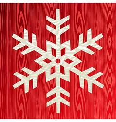 Christmas wooden snowflake greeting card vector image