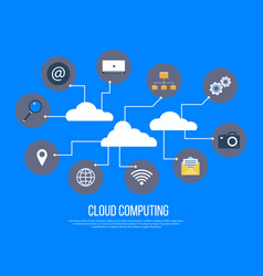 cloud computing services and technology data vector image