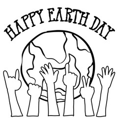 Collection of world hand draw earth day vector
