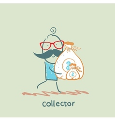 Collector is running with a bag of money vector