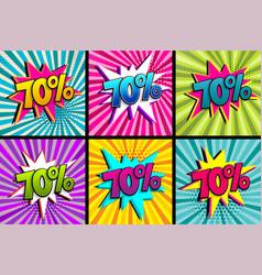 Comic text 70 percent sale set discount vector