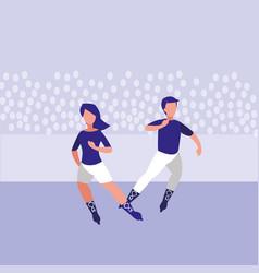 couple skating avatar character vector image