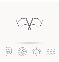 Crosswise waving flag icon Location pointer vector image
