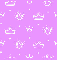crown seamless pattern pink girl repeat vector image