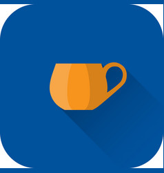 Cup icon flat design with long shadow vector