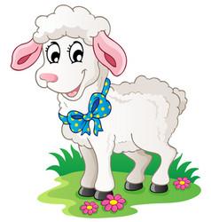 Cute cartoon lamb vector