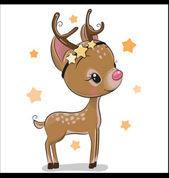 Cute christmas deer isolated on a white background vector