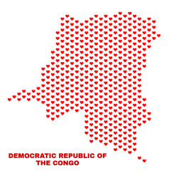 democratic republic of the congo map - mosaic of vector image