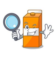 Detective package juice character cartoon vector