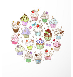 Doodle sketch cupcakes with decorations on white vector